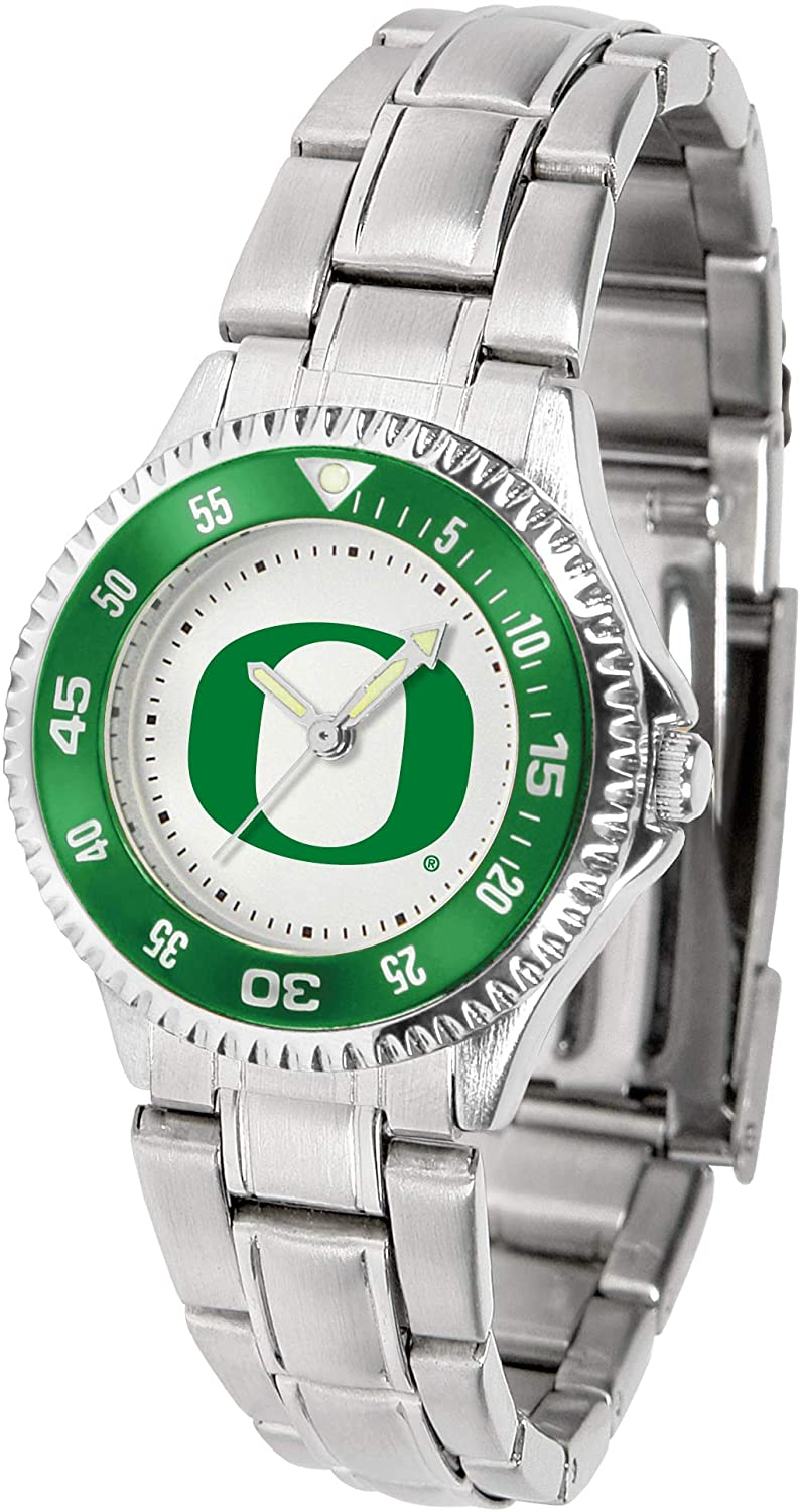 SunTime Oregon Ducks Competitor Ladies Watch with Steel Band