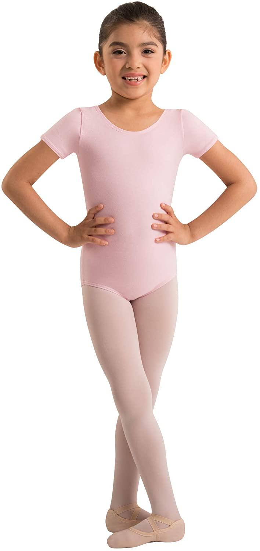 Body Wrappers Girls Organic Cotton Short Sleeve Leotard (BLACK, 8-10) - OGC120