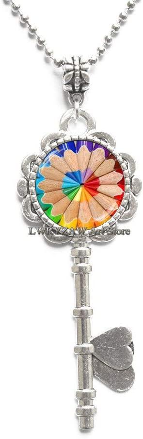 Coloring Pencil Key Necklace, Art Pencil Key Necklace, Gift for Artist Painter Art Teachers Art Student, Artistic Color Key Necklace,M192