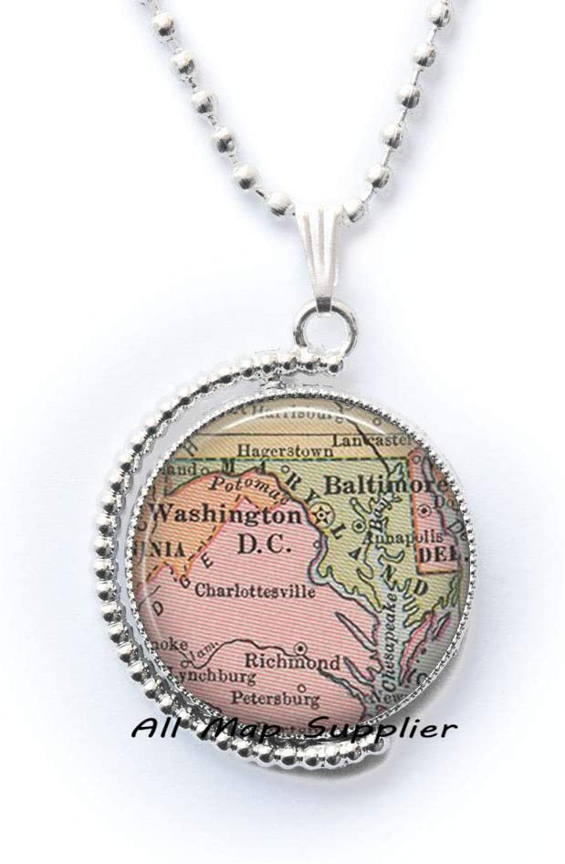 AllMapsupplier Fashion Necklace,Maryland map Necklace,Maryland Pendant,Maryland map Pendant,State map Jewelry,Washington DC Pendant,A0127