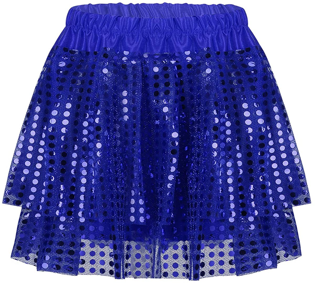 MSemis Kids Girls Sequins Hip-Hop Modern Jazz Performing Costume Ruffles Mini Skirts with Elastic Waistband
