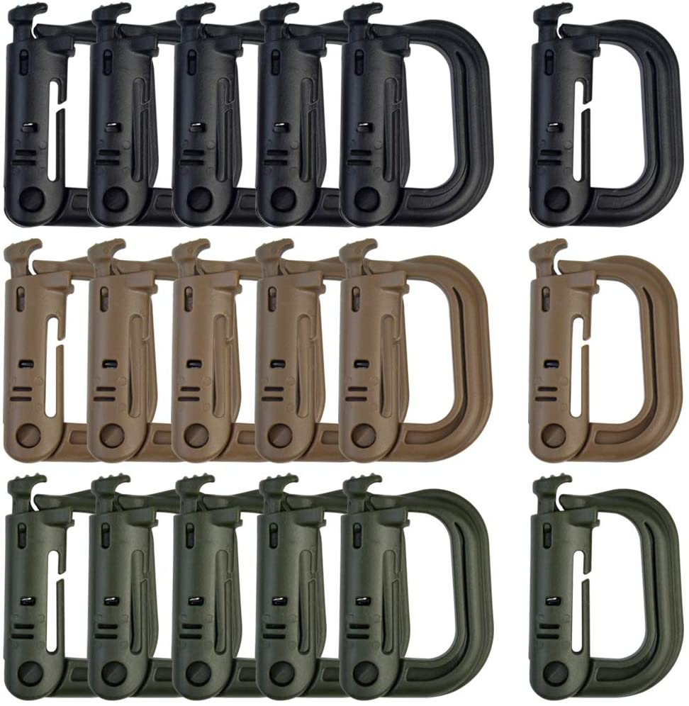 Topbuti 18 pcs Multipurpose Grimlock D-Ring Locking Molle Clips Hanging Hook for Molle Webbing with Zippered Pouch