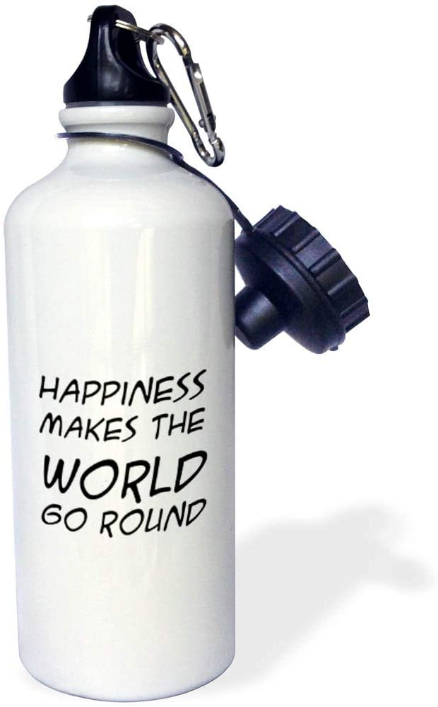 3dRose Stamp City - Typography - Happiness Makes The World go Round. Black Letters on White Background. - 21 oz Sports Water Bottle (wb_321649_1)