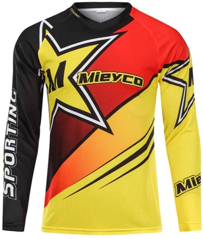 Bayue Men Long Sleeve Downhill Jersey Mountain Bike Clothing Quick Dry Running Clothes Cycling Jacket Off Road T Shirt Sports Wear Zhaozb (Color : 6, Size : XS)