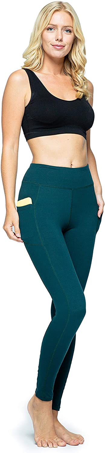 OCOMMO Leggings with Pockets for Women, Tummy Control High Waisted Womens Yoga Leggings Dark Teal