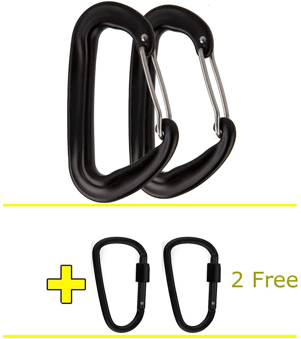IvyVale 12KN Aluminum Carabiners - Ultralight Heavy Duty D Shape Carabiner Hook for Hammocks, Camping, 2 Pack with 2 Free Locking Carabiners