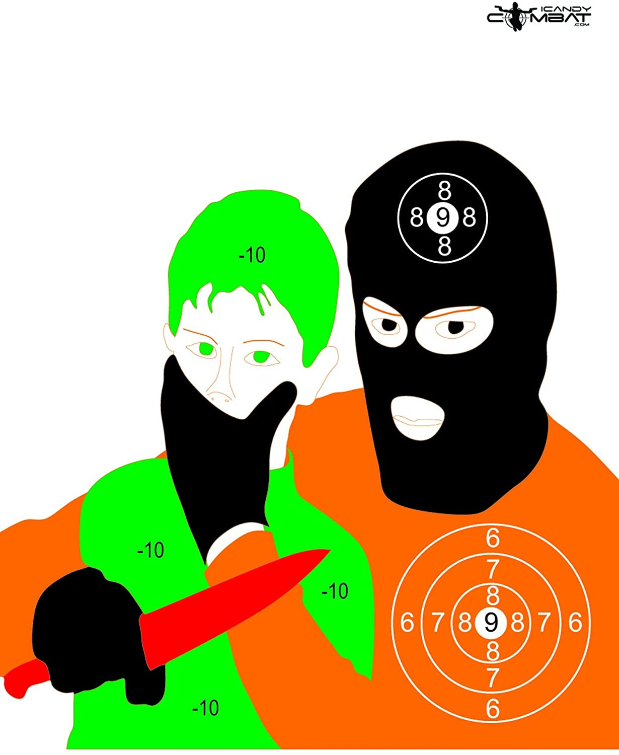 iCandy Combat Criminal with Knife Hostage Silhouette Targets - Police Military Training Target