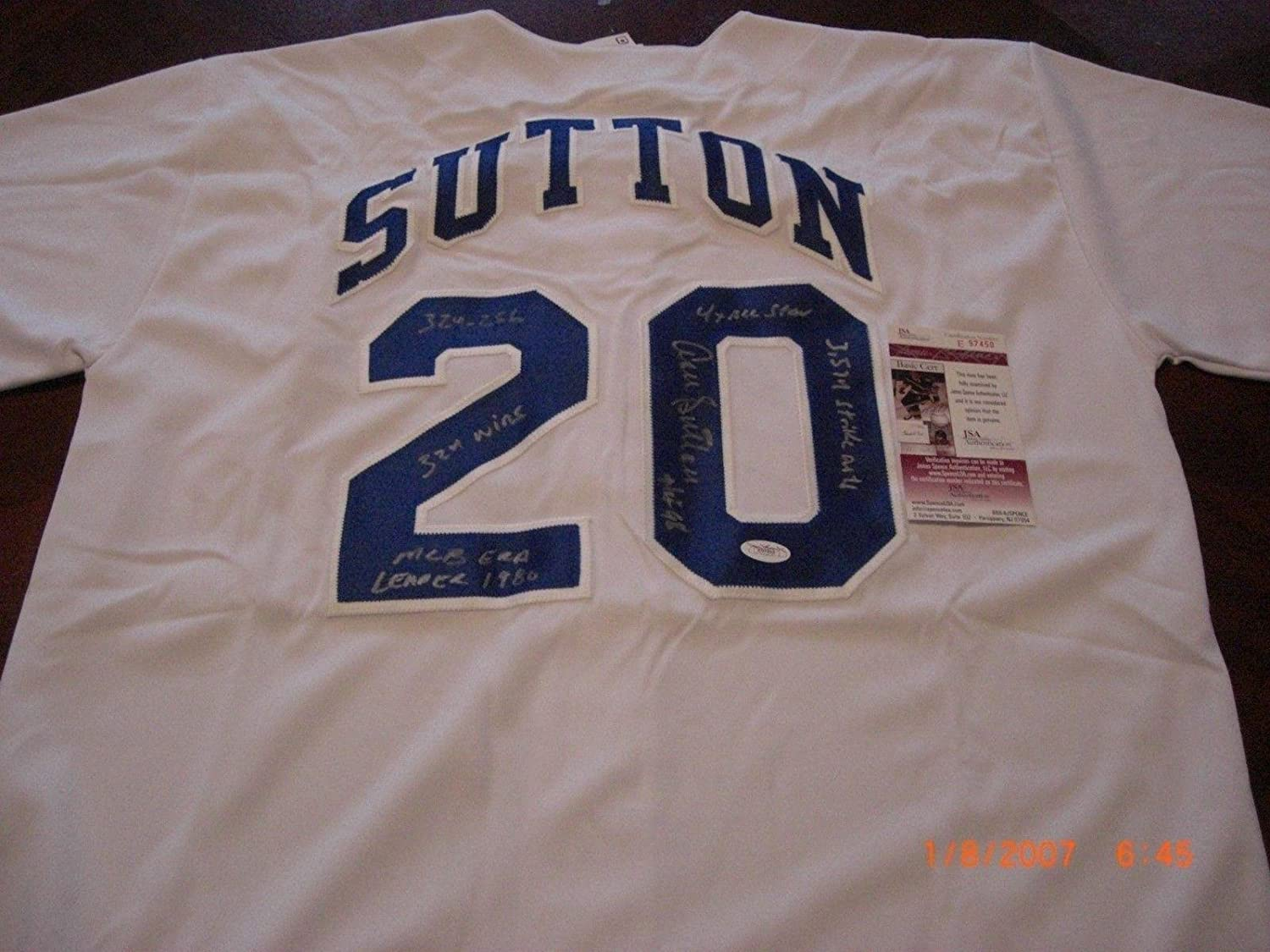 Don Sutton Autographed Jersey - 3574 Strikeouts 4x As hof 98 324 256 coa - JSA Certified - Autographed MLB Jerseys