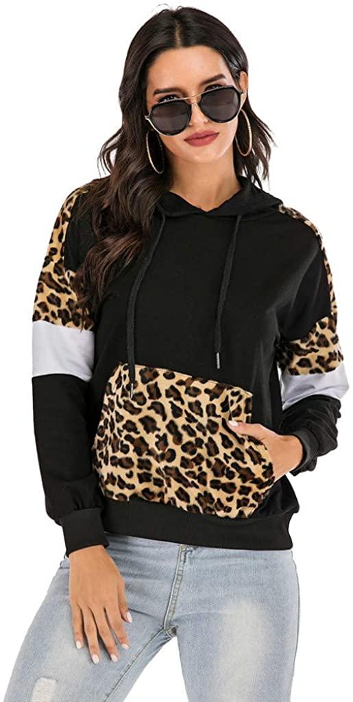 Women Casual Plush Splice Pocket Long Sleeve Sweatshirt Hooded Tops