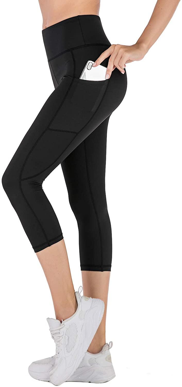 Active Now Women Crop Leggings, Workout Gym Yoga, Tummy Control, No See-Through, 2 Sides Pockets Capri Leggings, Breathing 4 Ways Stretch Fabric