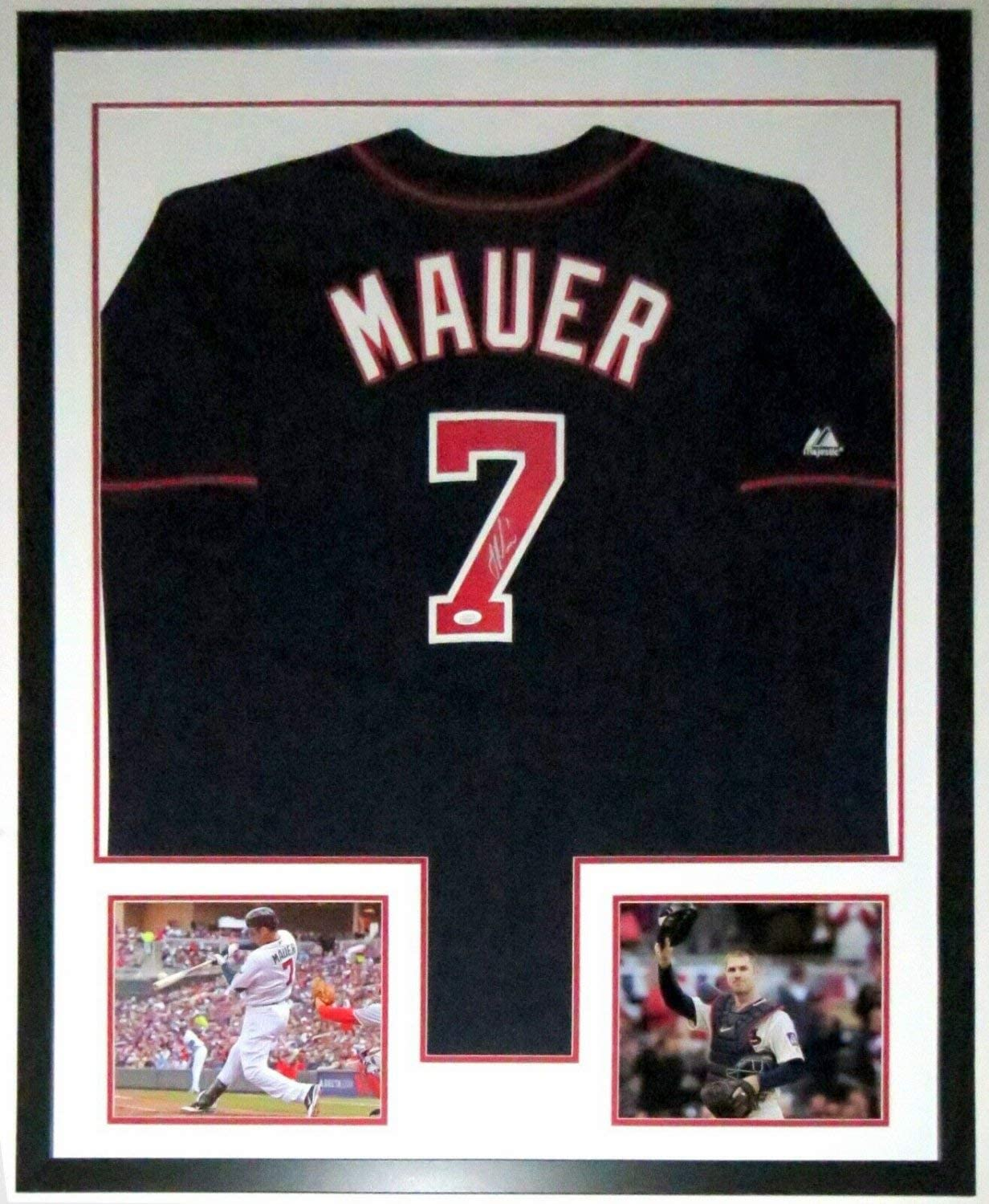 Joe Mauer Autographed Signed Twins Jersey JSA COA Authentic Custom Framed 2 8X10 Phot0