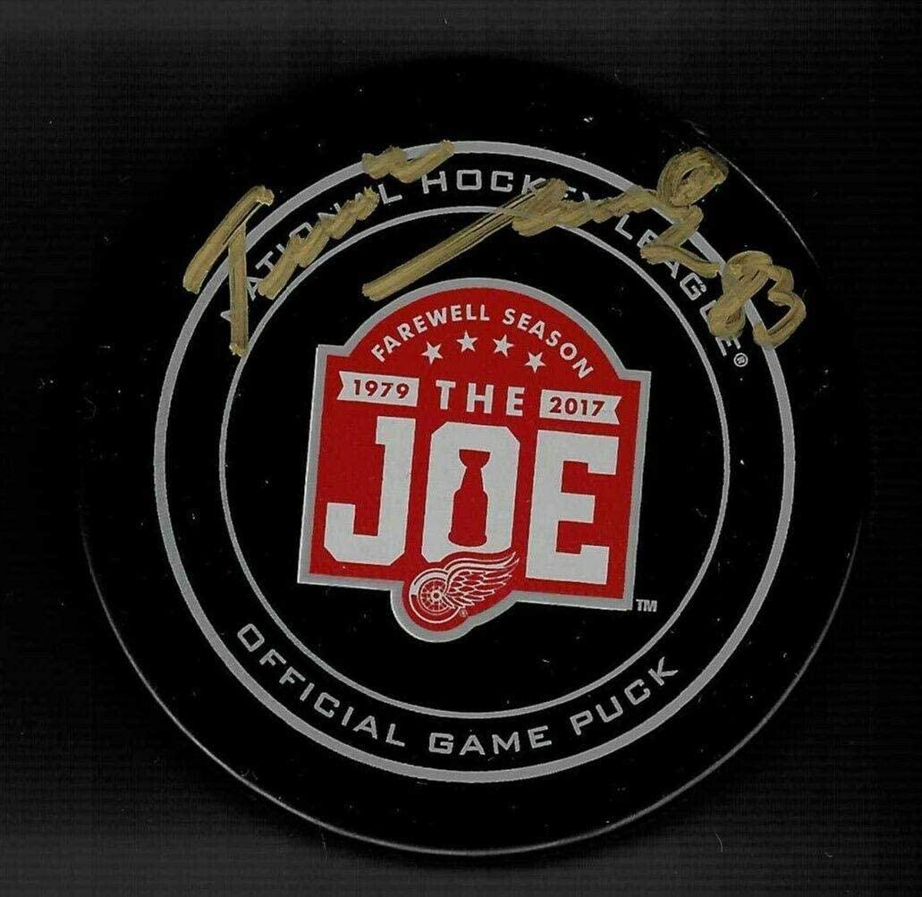 Tomas Nosek Signed Detroit Red Wings Joe Louis Arena JLA Farewell Game Puck - Autographed NHL Pucks
