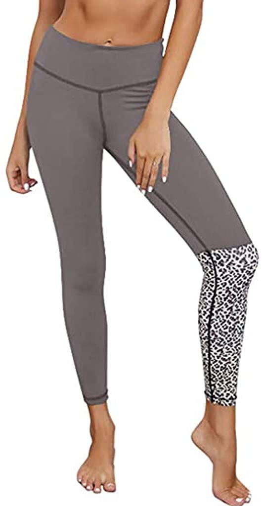 HDGTSA Women's Leopard Yoga Pant Patchwork Workout Sports High Waisted Leggings Running Pant