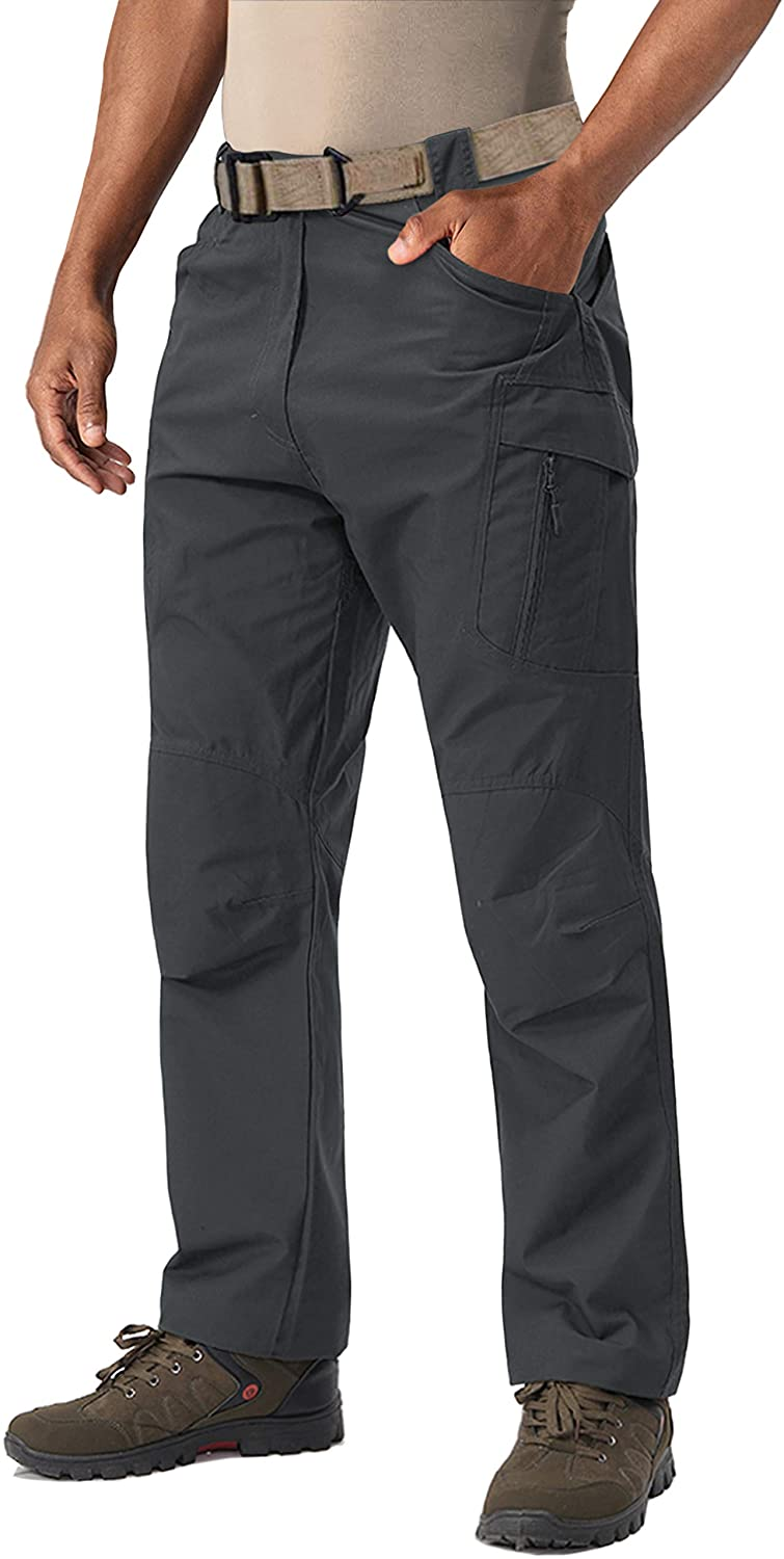 LASIUMIAT Men's Hiking Pants with 9 Pockets Outdoor Lightweight Ripstop Military Tactical Pants