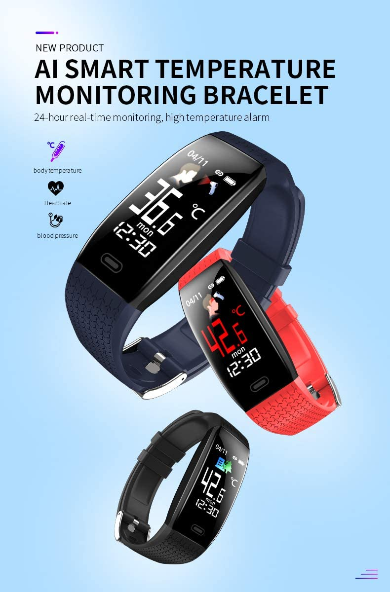 Smart Band Watch Bracelet Wristband Fitness Tracker Blood Pressure  Fitness Tracker for Body Temperature, Heart Rate   Bluetooth Push Alert Time Tracker IP67   Waterproof Fitness Tracker for Women Men