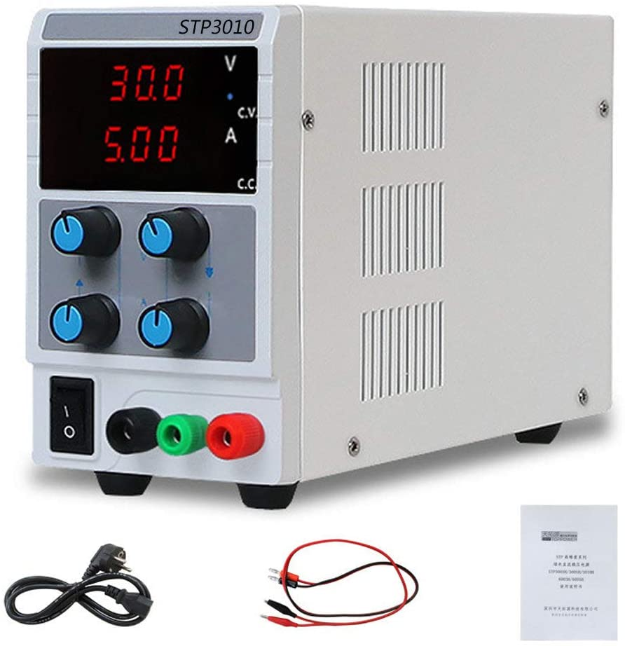 ZCM-QCDD Laboratory Power Supply, Adjustable Regulated Power Supply 30V 10A Adjustable, Portable DC Bench Power Supply for Lab/Electronic Repair/Aging Test, 110V/ 220V Universal
