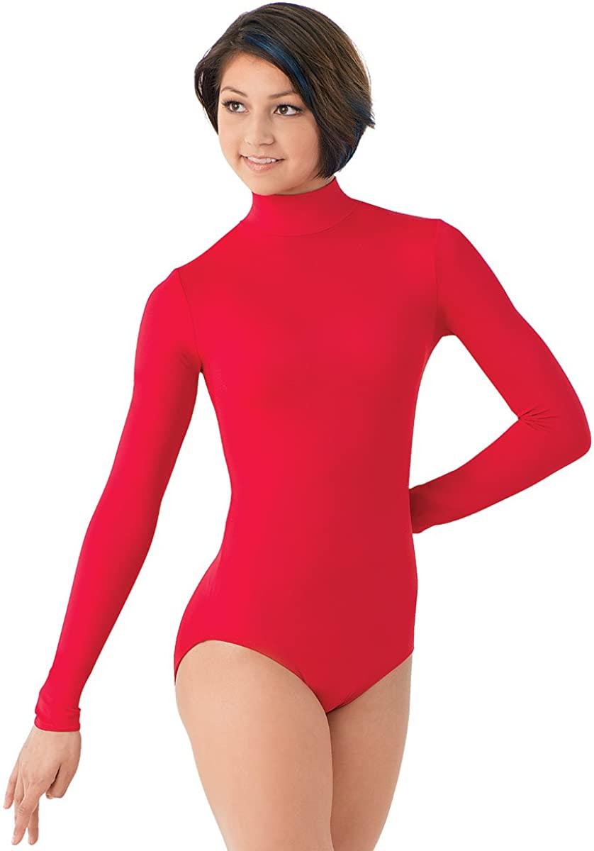 Balera Leotard Girls One Piece Bodysuit For Dance Long Sleeve Mock Neck Turtleneck Spandex Red Adult X-Large