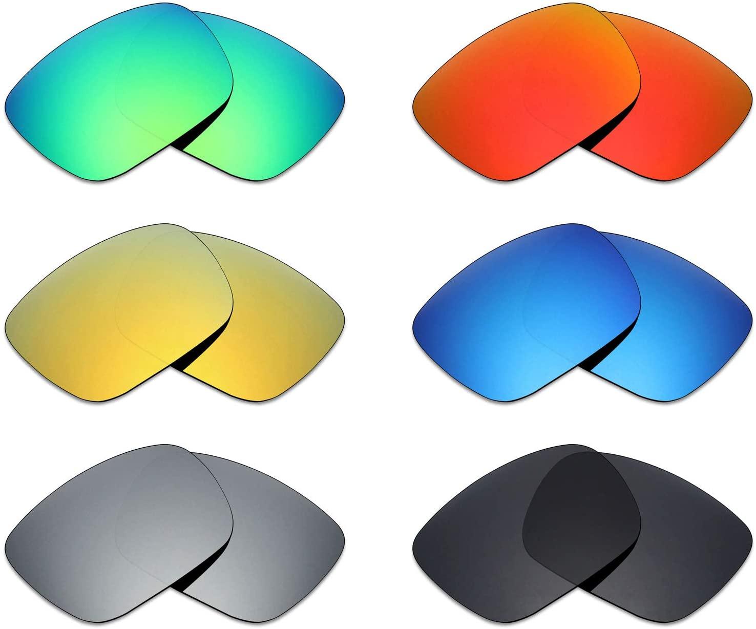 Mryok 6 Pair Polarized Replacement Lenses for Von Zipper Elmore Sunglass - Stealth Black/Fire Red/Ice Blue/Silver Titanium/Emerald Green/24K Gold