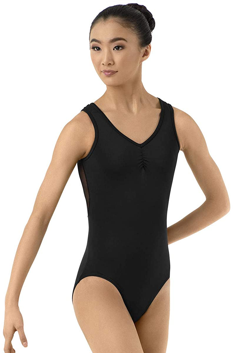 Balera Leotard Girls One Piece For Dance Womens V Neck With Mesh Inset Back
