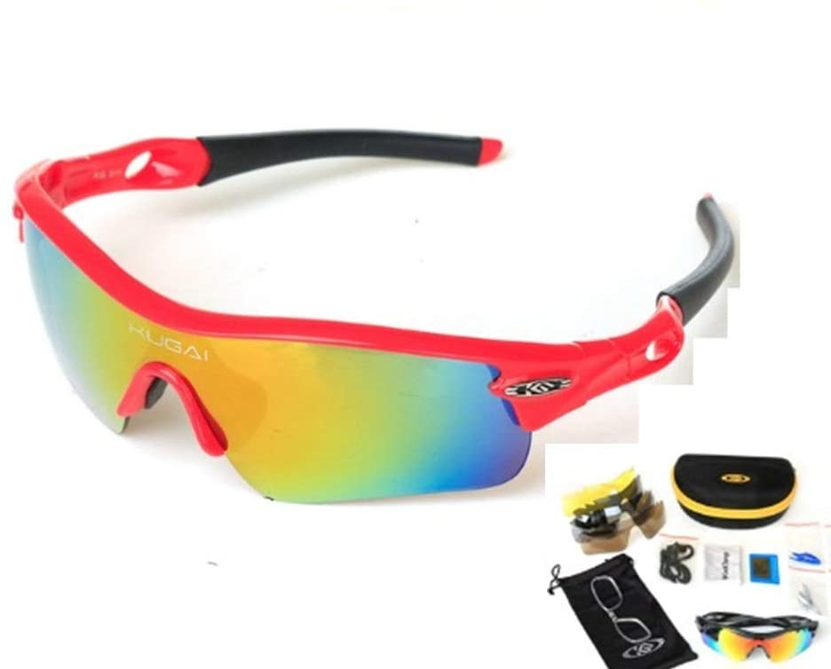 Rungear Polarized Sports Sunglasses with 5 Interchangeable Lenses for Men Women Cycling Running Driving Fishing Glasses