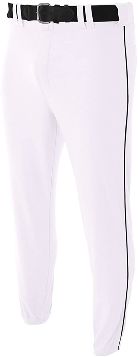 A4 Sportswear Youth Medium White with Black Side Piping Baseball/Softball Pants Pro Style Elastic Bottom with Side Color Piping