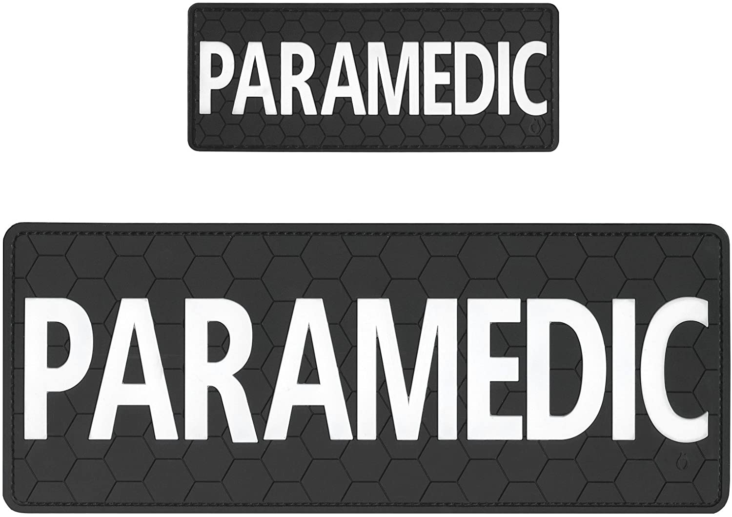 LEGEEON Set of 2 PVC Rubber Touch Fastener Patches Paramedic EMS EMT Plate Carrier Body Armor Medical