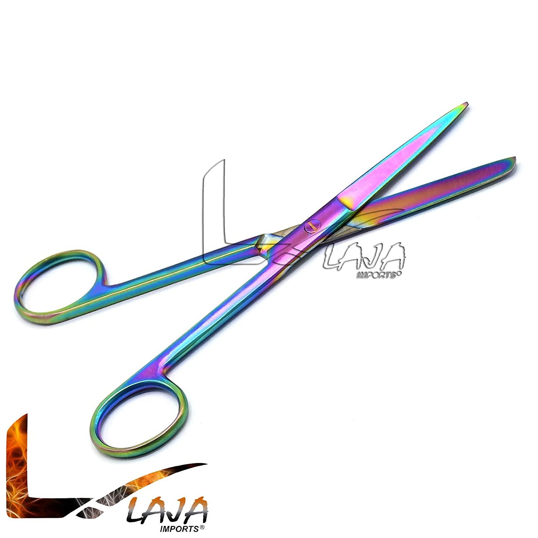 LAJA Imports Operating Scissors Sharp/Blunt 5 Straight, Multi Titanium Rainbow Color Stainless Steel