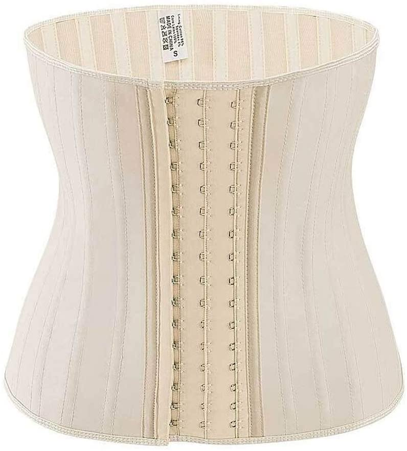 MDYHJDHYQ Waist Trimmers Shinning Latex Waist Trainer 25 Spiral Steel Boned Black Cream Waist Slimming Cincher 3 Hooks and Eyes Corset Underwear Corselet (Color : Ivory, Size : L)