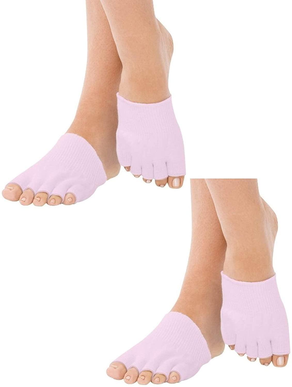 MojaSports Gel-Lined Open Toe Compression Moisturizing Socks (2 Pair) Dry Cracked Skin.