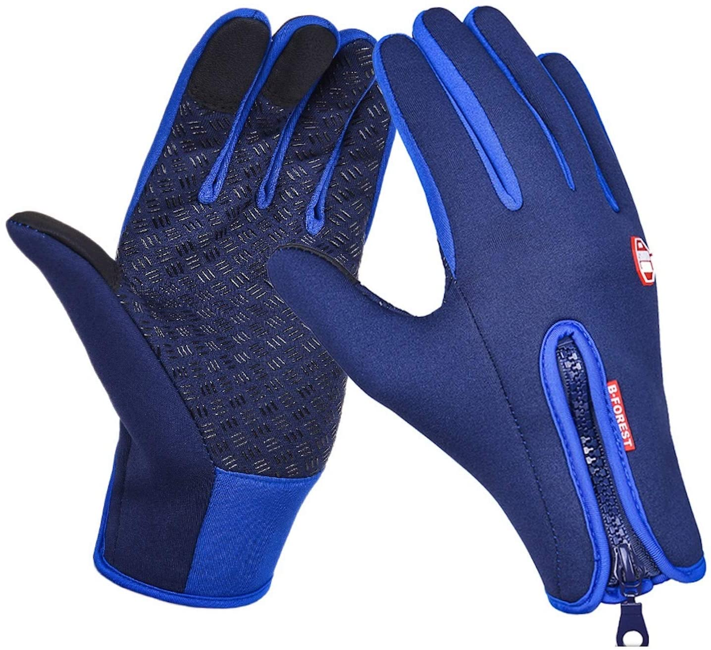 Cicilin Gloves, Unisex Sports Cycling Gloves Winter-Autumn Adjustable Waterproof Touch Screen Gloves Windproof Thermal Silicone Non-Slip for Outedoor Sports Dark Blue Silicone XL