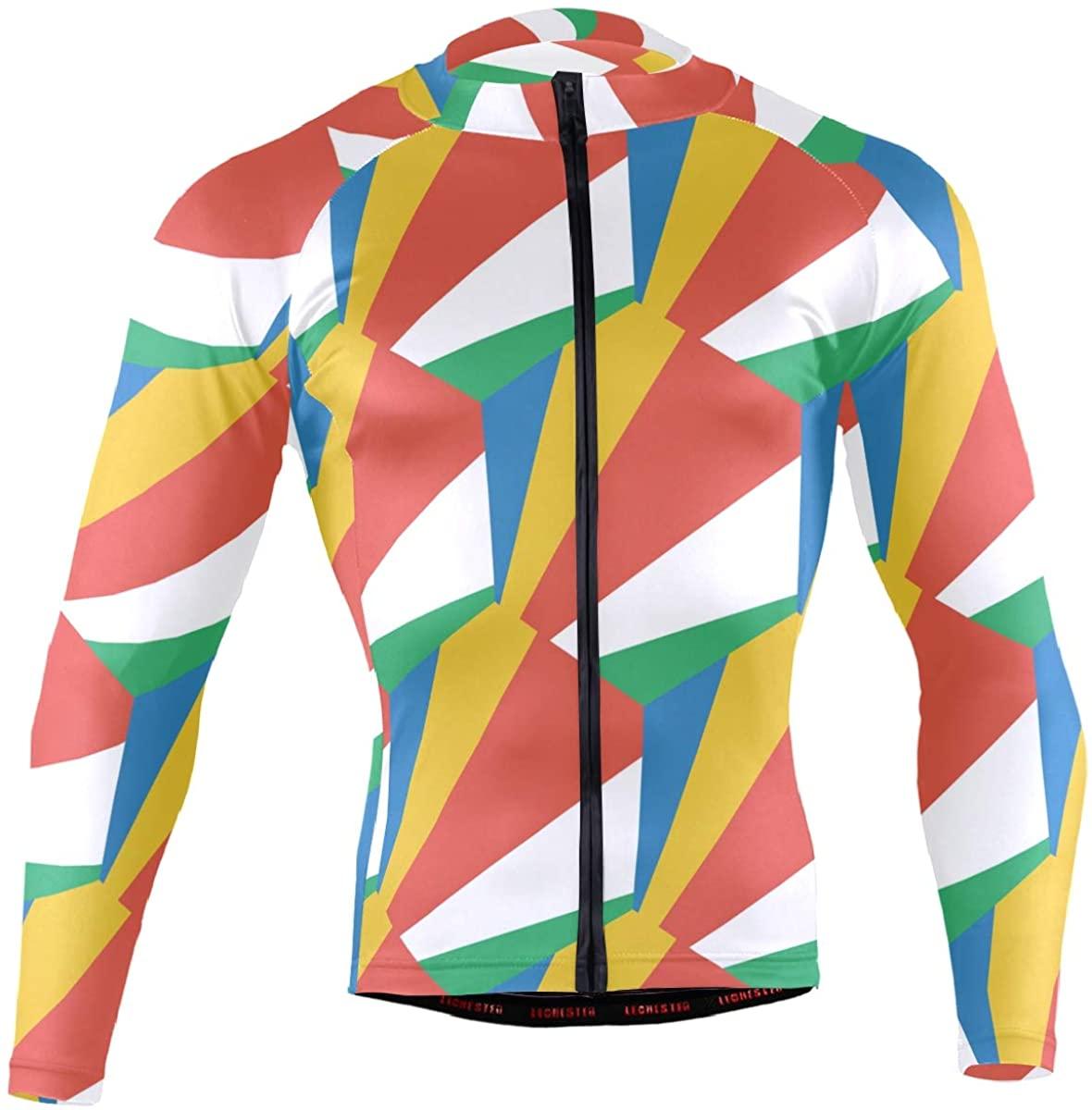 Seychelles Flag Men's Long Sleeve Cycling Jersey Bicycle Jacket Pockets Full Zipper Bike Biking Shirts