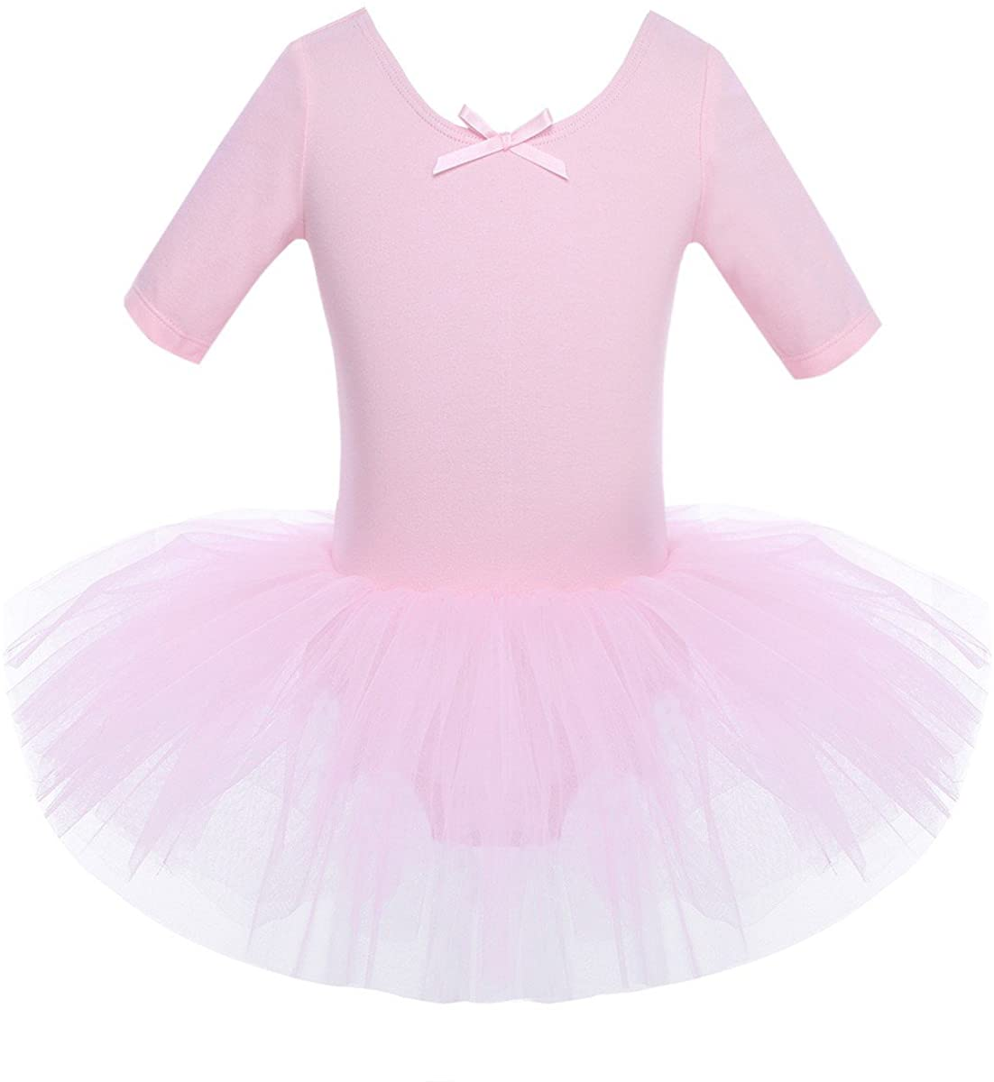 Freebily Kids Girls Half Sleeve Tutu Dress Leotard Fairy Tulle Ballet Dance Gymnastic