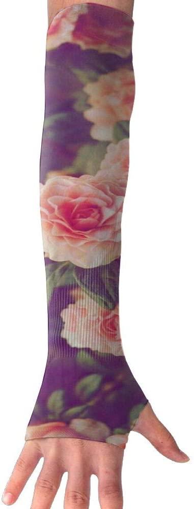 TO-JP Rose Flower Gloves Anti-uv Sun Protection Long Fingerless Arm Cooling Sleeve