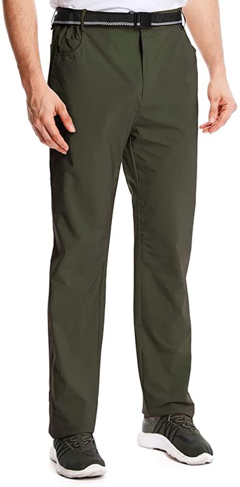 Hiking Pants Mens,Outdoor Quick Drying Lightweight Moisture Wicking Safari Fishing Travel Cargo Bottoms (6095 Green, 38)