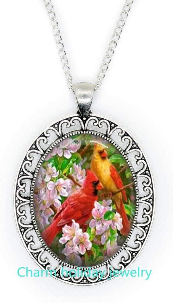Red Cardinal Art Pendant,red Cardinal Necklace,red Cardinal Jewelry,Cardinal Necklace,red Cardinal Bird,Pendant Necklaces-#152