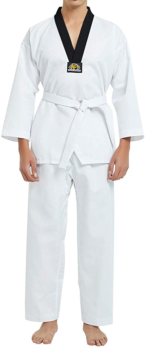 TOPTIE 7.5 Oz Taekwondo Suit TKD Dobok Student Uniform with Belt (Black Trim, 0)