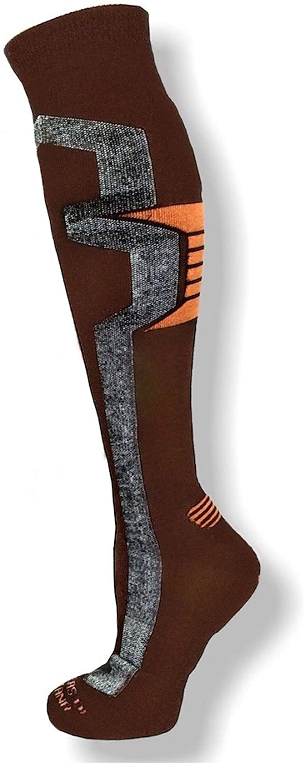 Alpacas of Montana Warm, Vented and Over-the-Calf Ski and Snowboard Socks for Men and Women - Large - Brown / Orange