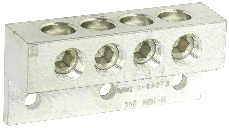 Dual Rated Transformer Lug, 350 MCM - 6 AWG Wire Range, 0.375