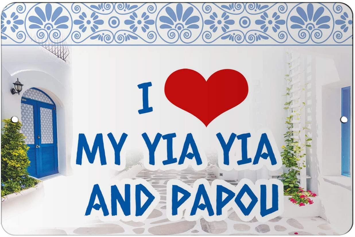 Makoroni - I Love and Papou Greece 12x18 inc Aluminum Decorative Wall Street Sign