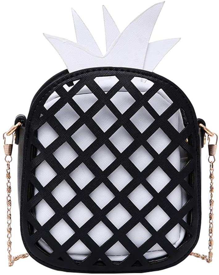 Maserfaliw Shoulder Bag, Shoulder Bag,Fashion Hollow Pineapple Women Faux Leather Zipper Small Crossbody Shoulder Bag - Black + White