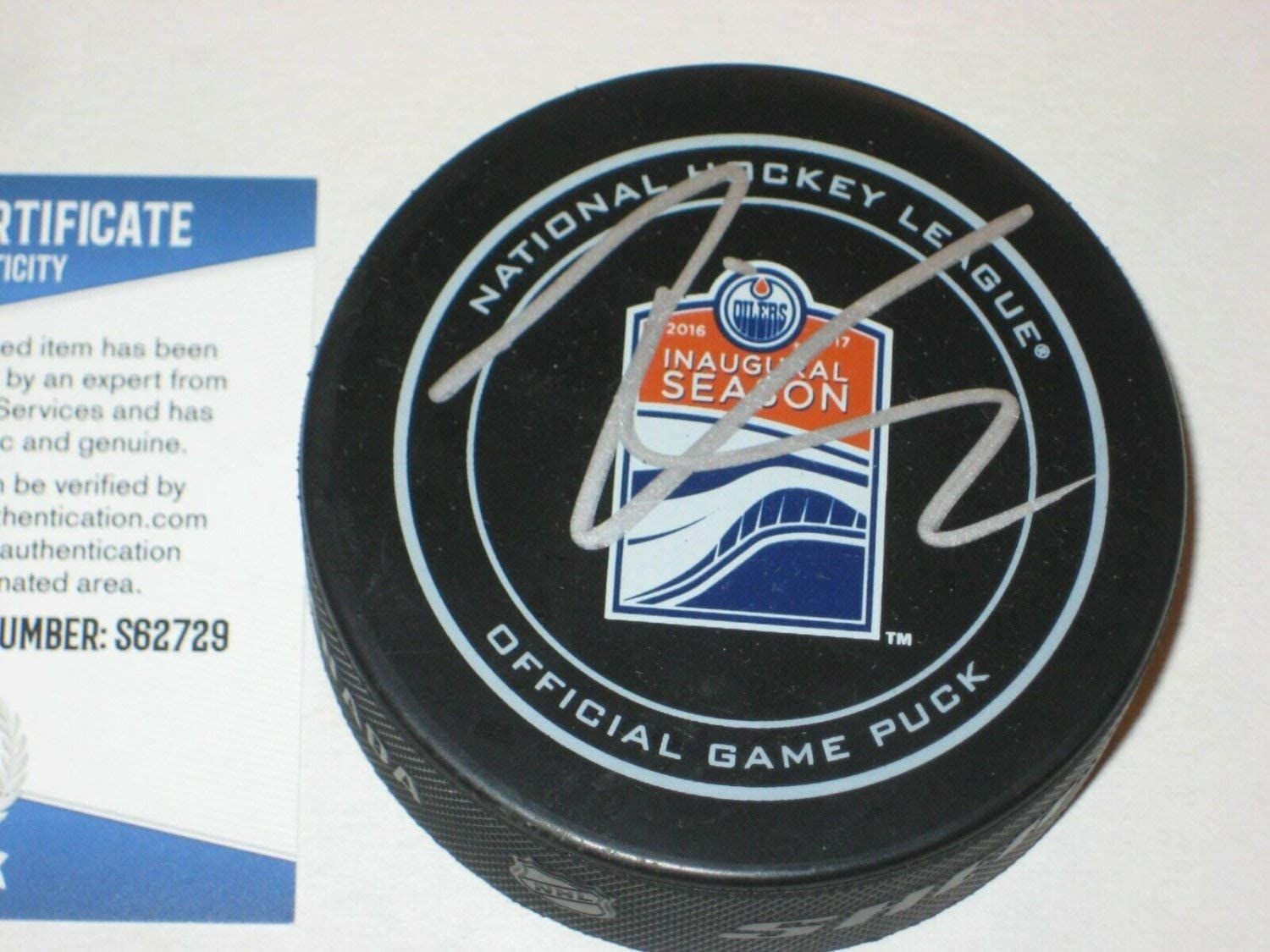 Leon Draisaitl Autographed Signed Official Oilers Inaugural Game Puck With Beckett COA