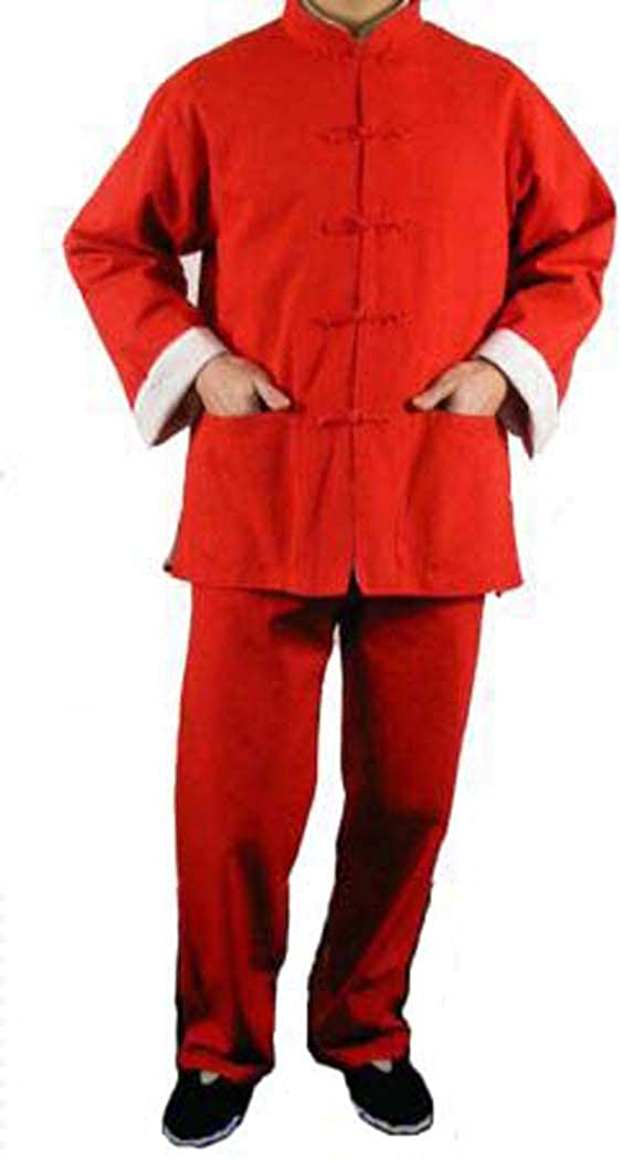 100% Cotton Red Kung Fu Martial Arts Tai Chi Uniform Suit XS-XL or Tailor Custom Made + Free Magazine