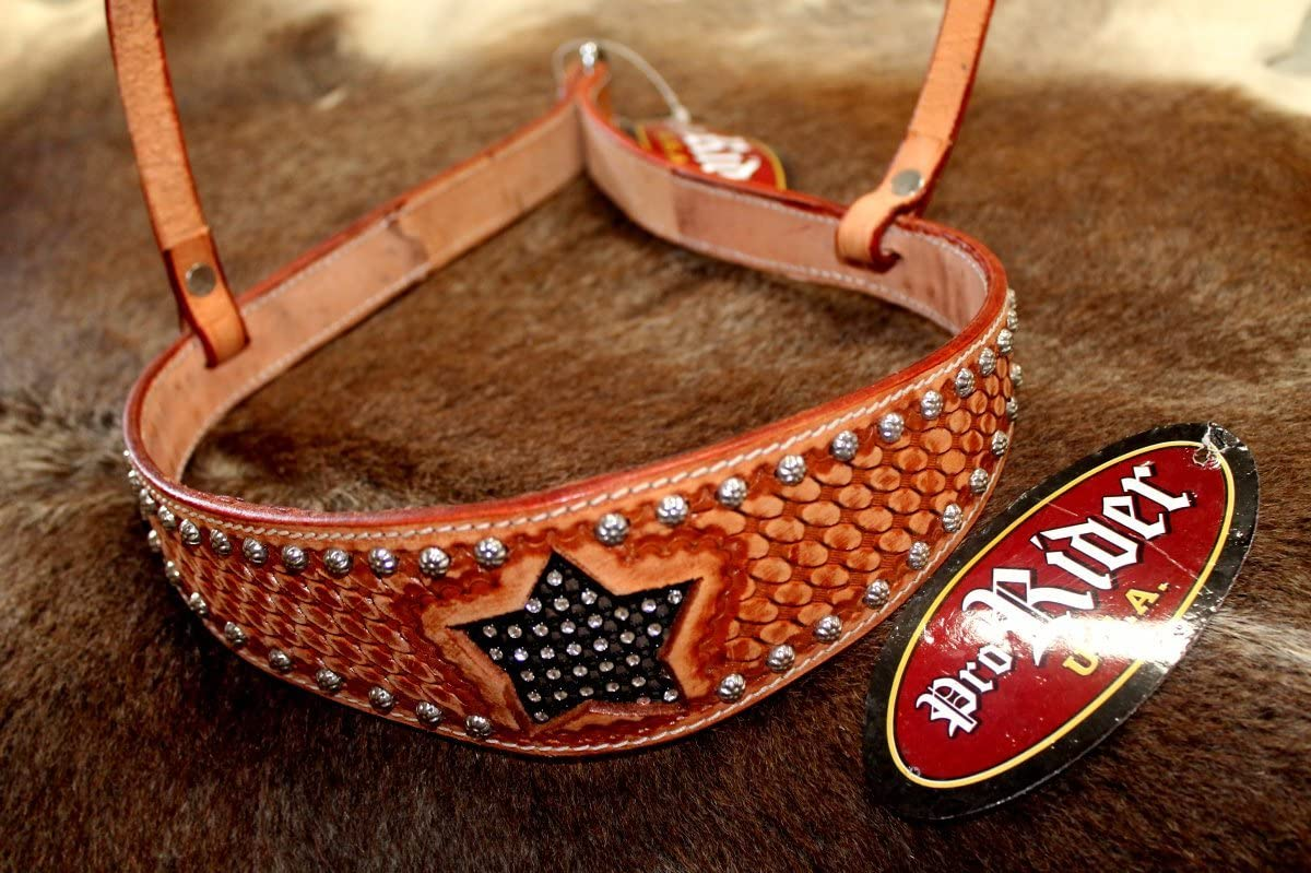 PRORIDER Horse Show Bridle Western Leather Barrel Racing Tack Rodeo Noseband 99157