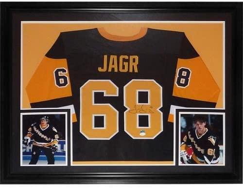 Jaromir Jagr Signed Jersey - Black #68 Deluxe Framed TSE - Autographed NHL Jerseys