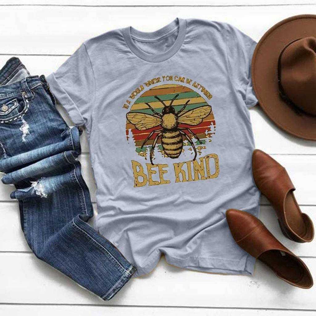 Be Kind Tee Shirts for Women Funny Graphic Tees T Shirts with Sayings Comfortable Round Neck Summer Tops Blouses