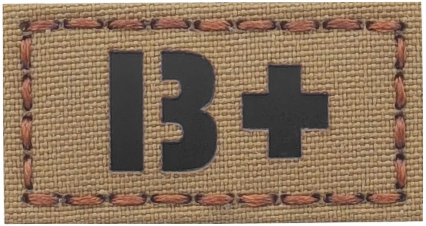 IR Coyote BPOS B+ Blood Type 1x2 Tan First Aid Kit IFAK OCP Tactical Morale Hook-and-Loop Patch