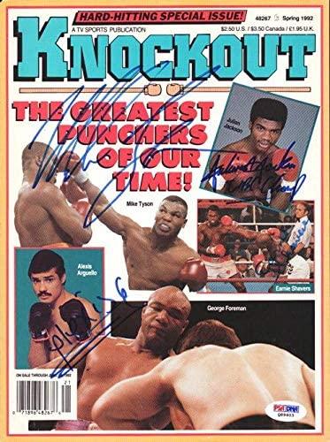 Mike Tyson, Alexis Arguello, Jullian Jackson, Ernie Shavers Autographed KO Boxing Magazine Cover #Q89403 - PSA/DNA Certified