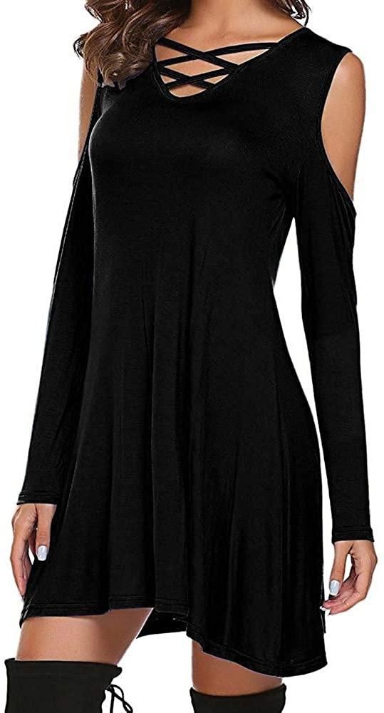 WENOVL Plus Size Dresses,Women Casual Cold Shoulder Long Sleeve Round Neck Dress Party Mni Dress