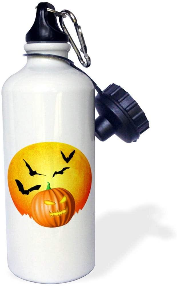 3dRose Macdonald Creative Studios – Halloween - A Full Halloween Moon with Bats and a Jack o Lantern Pumpkin - 21 oz Sports Water Bottle (wb_322565_1)