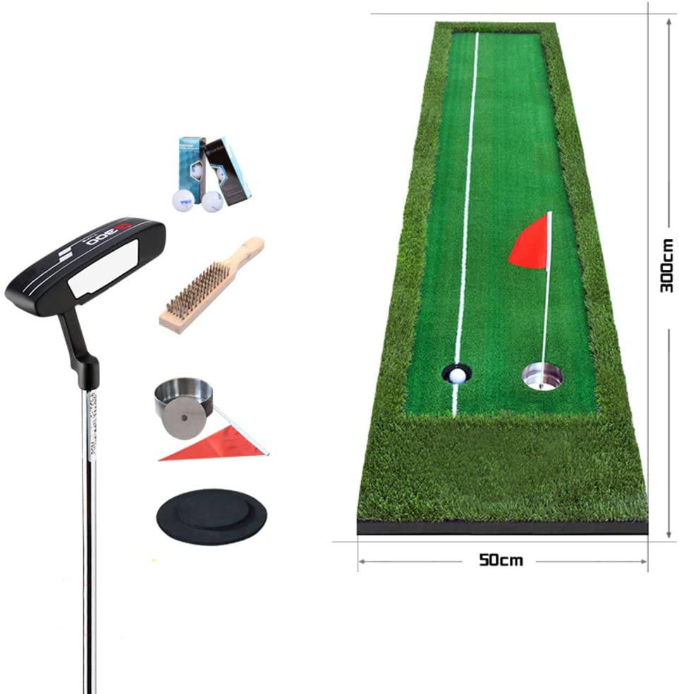 CurDecor Portable Putting Mat with 6 Free Balls,Extra Long Golf Training Mat for Home,Professional Golf Putting Green Set with Putter